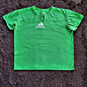 Adidas bright green athletic cotton tee shirt
